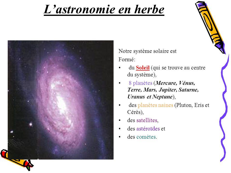 Lastronomie en herbe Notre système solaire est Formé: du Soleil (qui se trouve au centre du système), 8 planètes (Mercure, Vénus, Terre, Mars, Jupiter