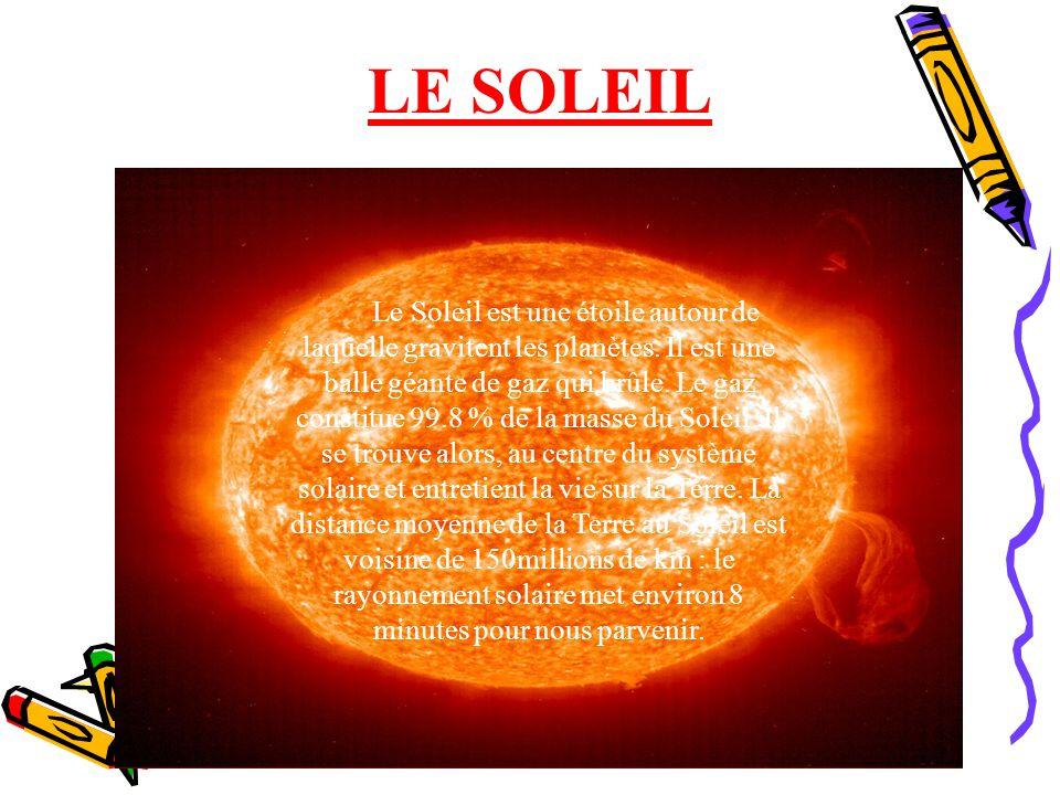 LE SOLEIL Le Soleil est une étoile autour de laquelle gravitent les planètes. Il est une balle géante de gaz qui brûle. Le gaz constitue 99.8 % de la