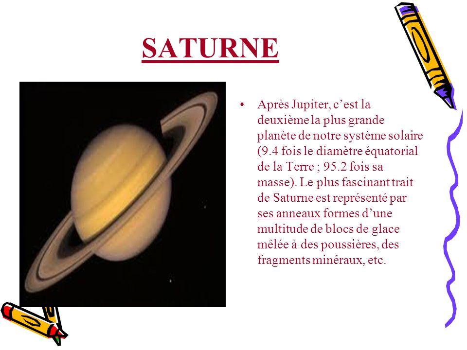 SATURNE Après Jupiter, cest la deuxième la plus grande planète de notre système solaire (9.4 fois le diamètre équatorial de la Terre ; 95.2 fois sa ma