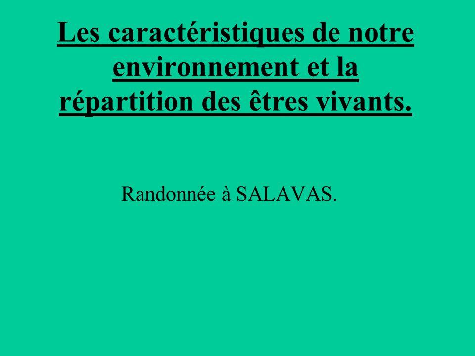 Les caractéristiques de notre environnement et la répartition des êtres vivants. Randonnée à SALAVAS.