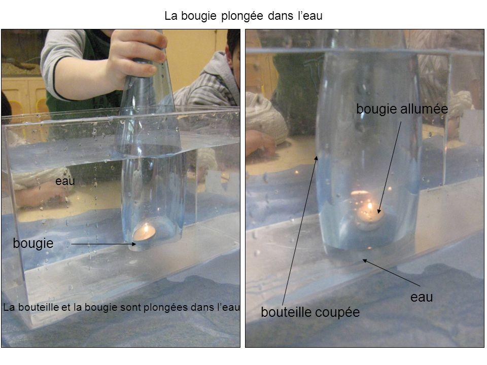 La bouteille et la bougie sont plongées dans leau bougie bouteille coupée eau bougie allumée La bougie plongée dans leau eau