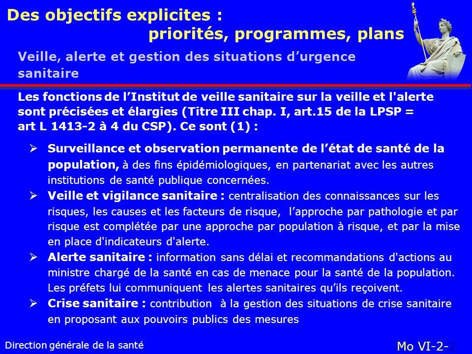 Direction générale de la santé Des objectifs explicites : priorités, programmes, plans Mo VI-2-2 Les fonctions de lInstitut de veille sanitaire sur la veille et l alerte sont précisées et élargies (Titre III chap.