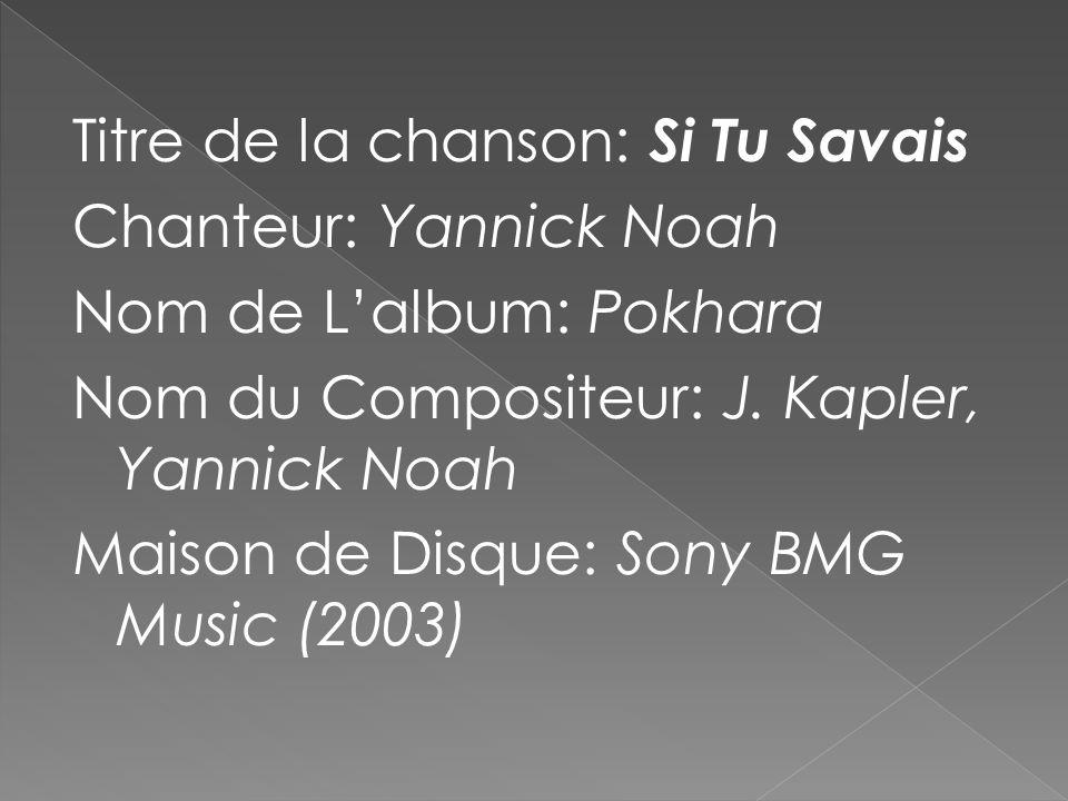 Titre de la chanson: Si Tu Savais Chanteur: Yannick Noah Nom de Lalbum: Pokhara Nom du Compositeur: J. Kapler, Yannick Noah Maison de Disque: Sony BMG