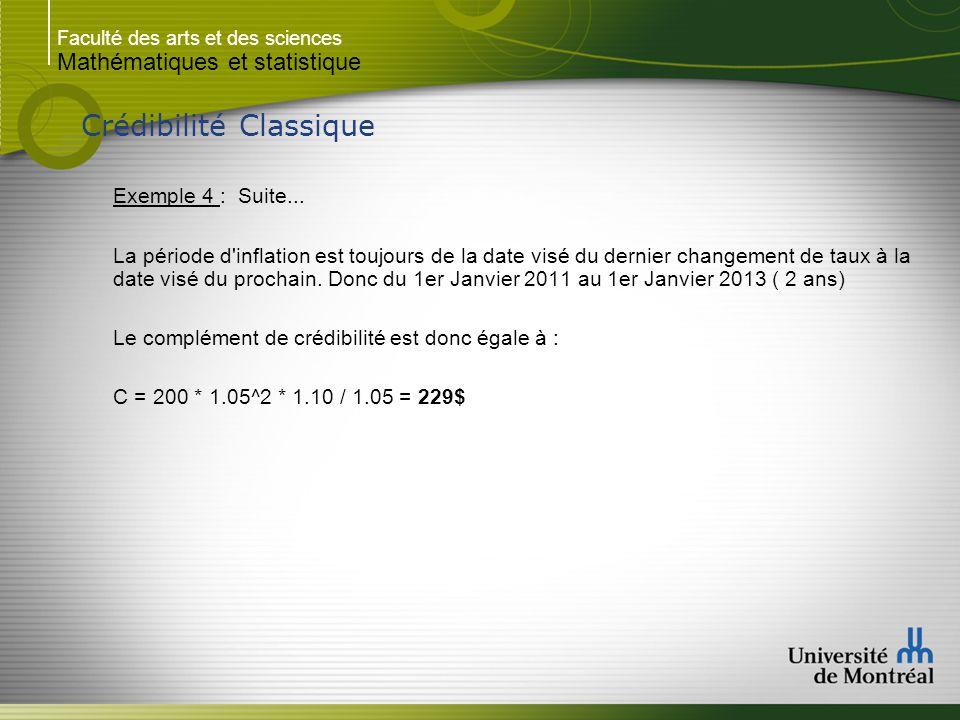 Faculté des arts et des sciences Mathématiques et statistique Crédibilité Classique Exemple 4 : Suite... La période d'inflation est toujours de la dat