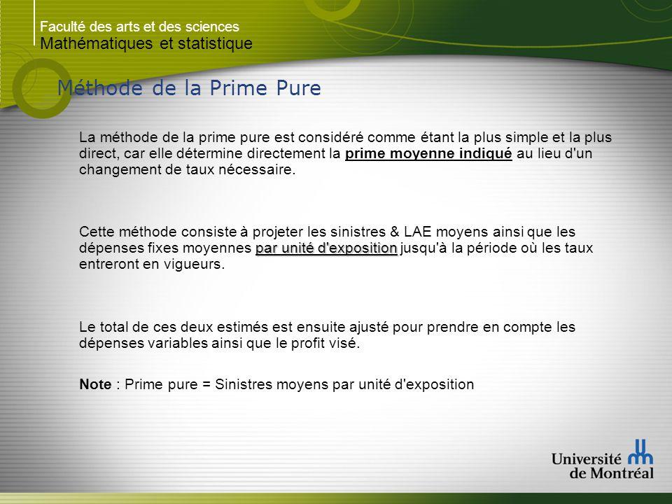 Faculté des arts et des sciences Mathématiques et statistique Méthode de la Prime Pure La méthode de la prime pure est considéré comme étant la plus simple et la plus direct, car elle détermine directement la prime moyenne indiqué au lieu d un changement de taux nécessaire.