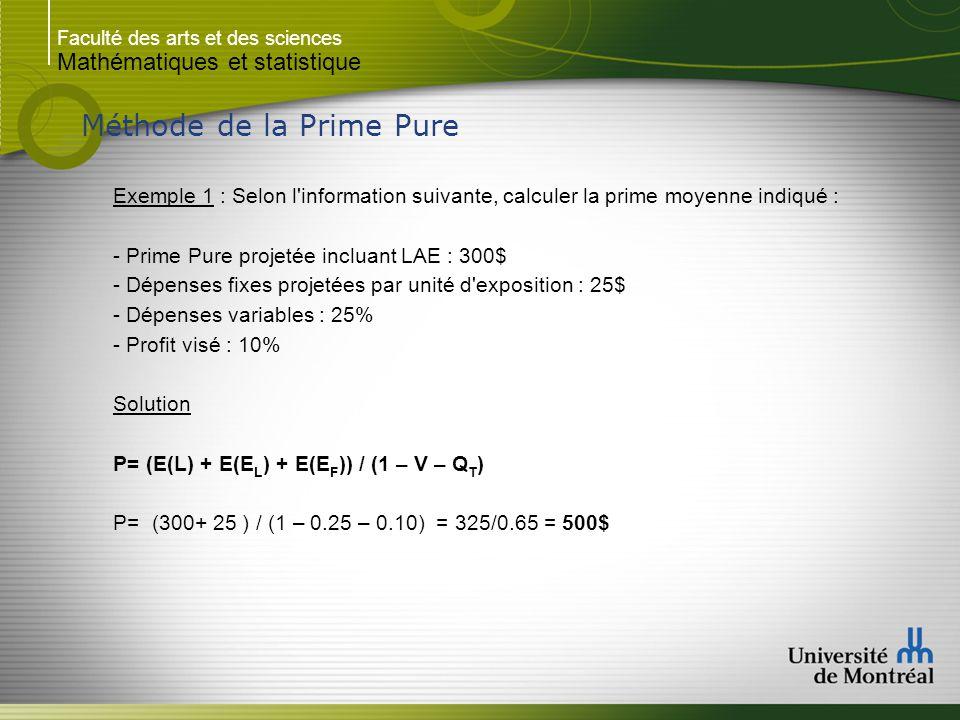 Faculté des arts et des sciences Mathématiques et statistique Méthode de la Prime Pure Exemple 1 : Selon l'information suivante, calculer la prime moy