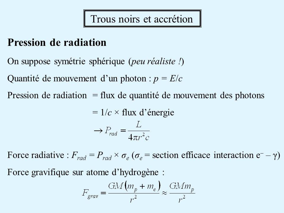 Trous noirs et accrétion Pression de radiation On suppose symétrie sphérique (peu réaliste !) Quantité de mouvement dun photon : p = E/c Pression de r
