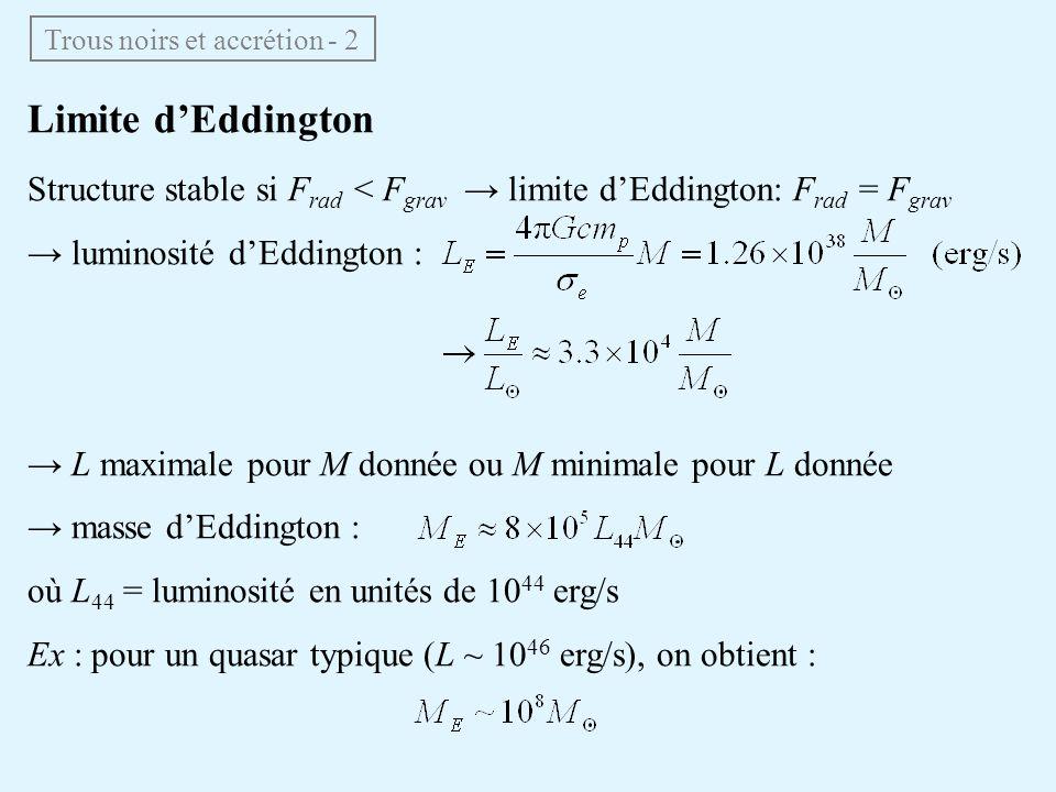Trous noirs et accrétion - 2 Limite dEddington Structure stable si F rad < F grav limite dEddington: F rad = F grav luminosité dEddington : L maximale