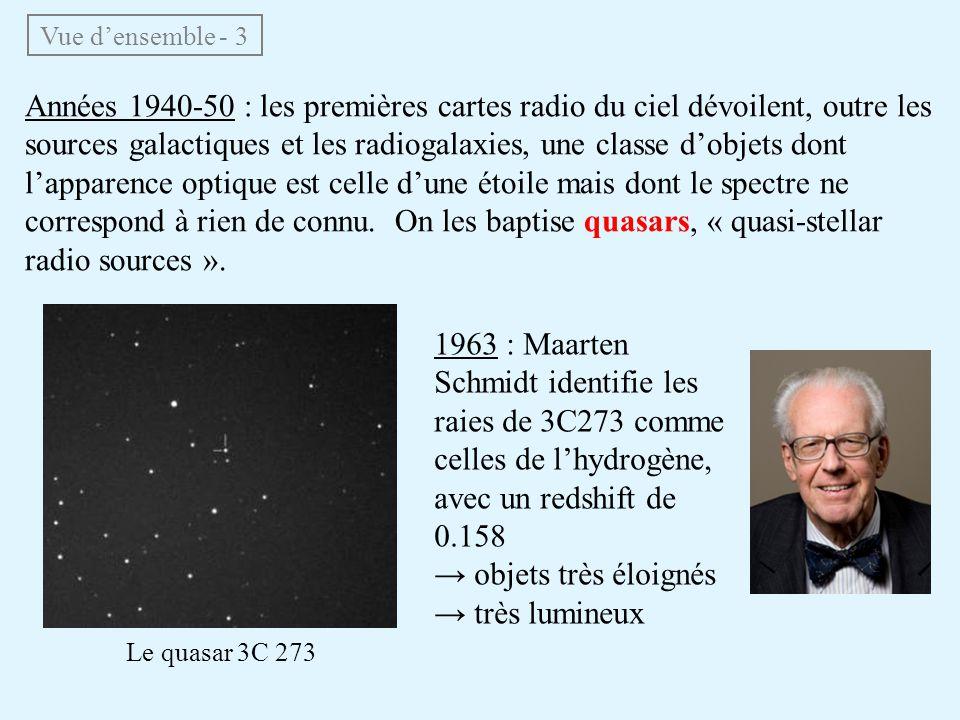 Années 1940-50 : les premières cartes radio du ciel dévoilent, outre les sources galactiques et les radiogalaxies, une classe dobjets dont lapparence