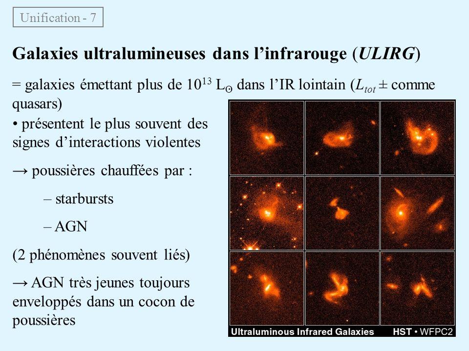 Galaxies ultralumineuses dans linfrarouge (ULIRG) = galaxies émettant plus de 10 13 L O dans lIR lointain (L tot ± comme quasars) Unification - 7 prés