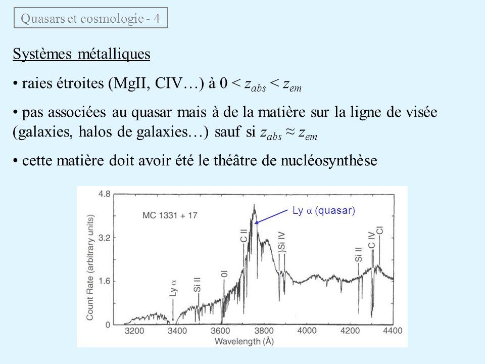 Systèmes métalliques raies étroites (MgII, CIV…) à 0 < z abs < z em pas associées au quasar mais à de la matière sur la ligne de visée (galaxies, halo
