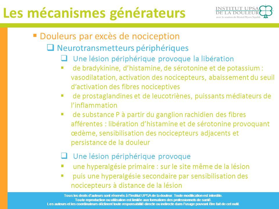 Les mécanismes générateurs Tous les droits dauteurs sont réservés à lInstitut UPSA de la douleur. Toute modification est interdite. Toute reproduction