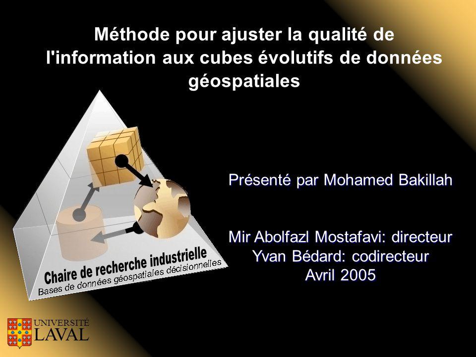 Méthode pour ajuster la qualité de l'information aux cubes évolutifs de données géospatiales UNIVERSITÉ LAVAL Présenté par Mohamed Bakillah Mir Abolfa