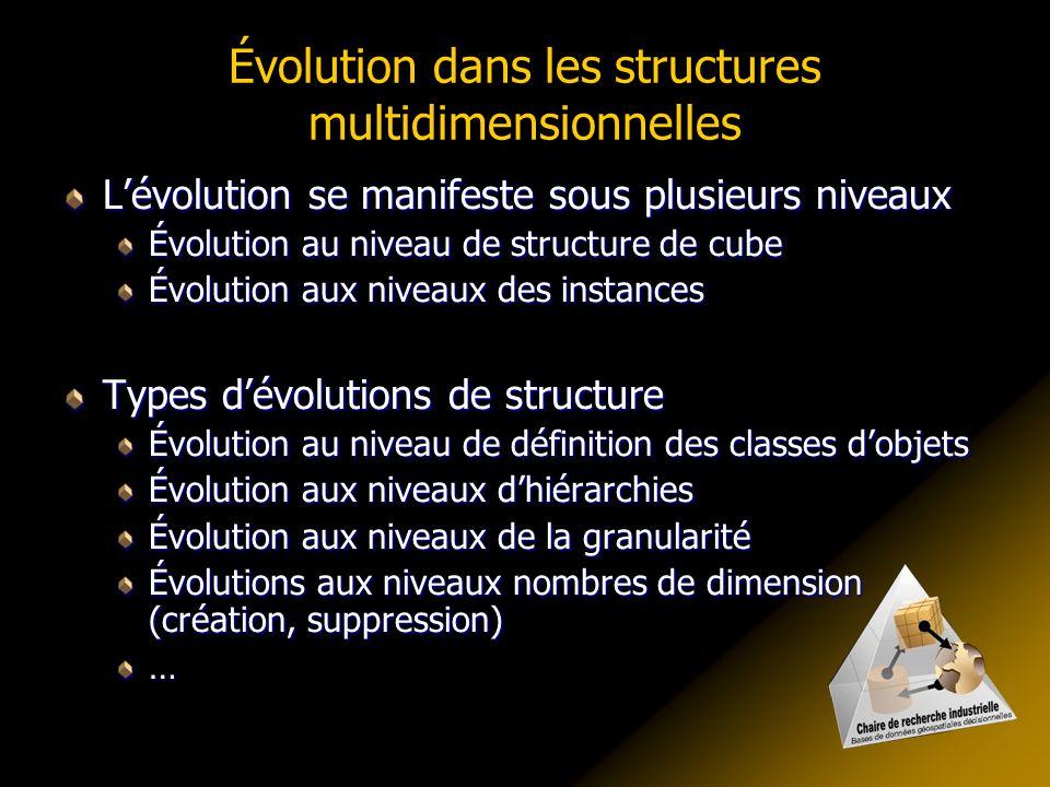 Évolution dans les structures multidimensionnelles Lévolution se manifeste sous plusieurs niveaux Évolution au niveau de structure de cube Évolution a
