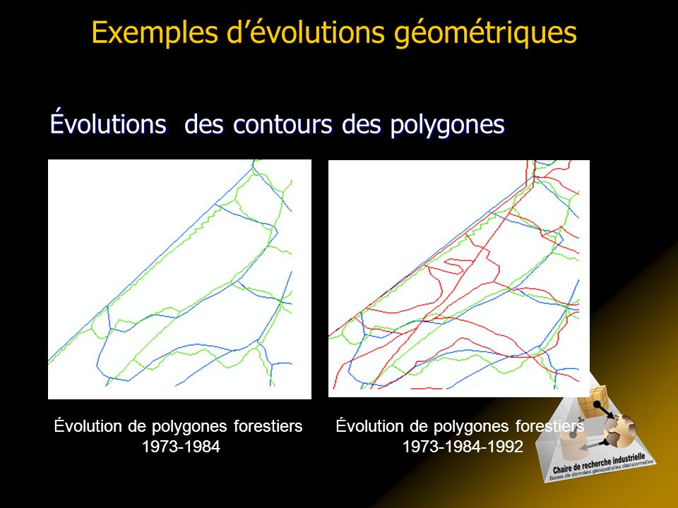 Exemples dévolutions géométriques Évolutions des contours des polygones Évolution de polygones forestiers 1973-1984 Évolution de polygones forestiers