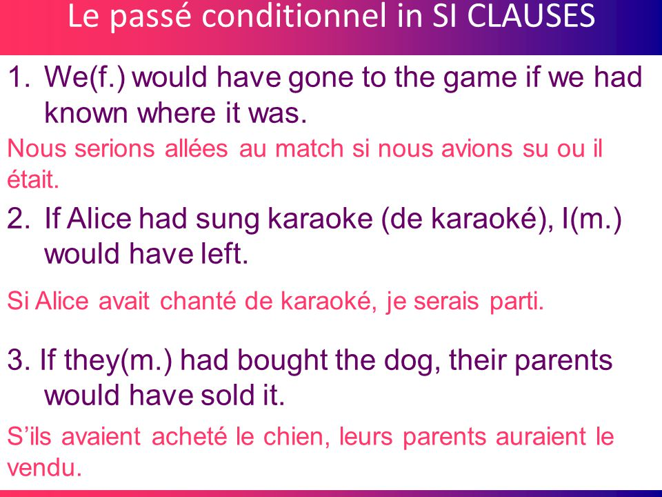 Le passé conditionnel in SI CLAUSES 1.We(f.) would have gone to the game if we had known where it was. 2.If Alice had sung karaoke (de karaoké), I(m.)