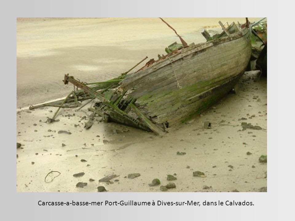 Carcasse-a-basse-mer Port-Guillaume à Dives-sur-Mer, dans le Calvados.