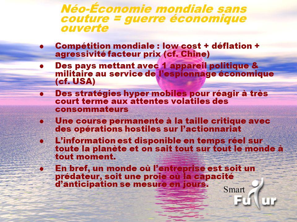 Néo-Économie mondiale sans couture = guerre économique ouverte l Compétition mondiale : low cost + déflation + agressivité facteur prix (cf. Chine) l