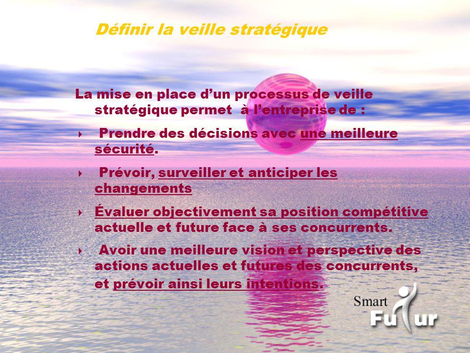 Définir la veille stratégique La mise en place dun processus de veille stratégique permet à lentreprise de : Prendre des décisions avec une meilleure sécurité.