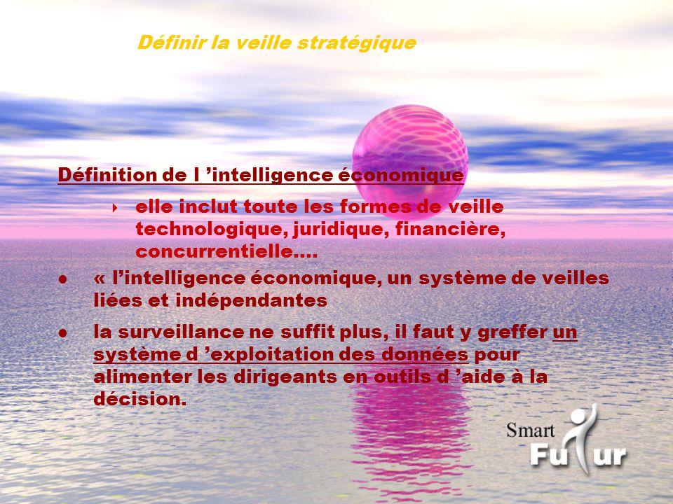 Définir la veille stratégique Définition de l intelligence économique elle inclut toute les formes de veille technologique, juridique, financière, concurrentielle….