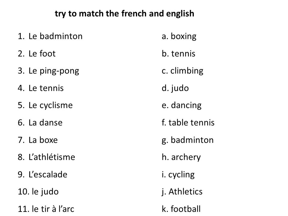 try to match the french and english 1.Le badmintona.