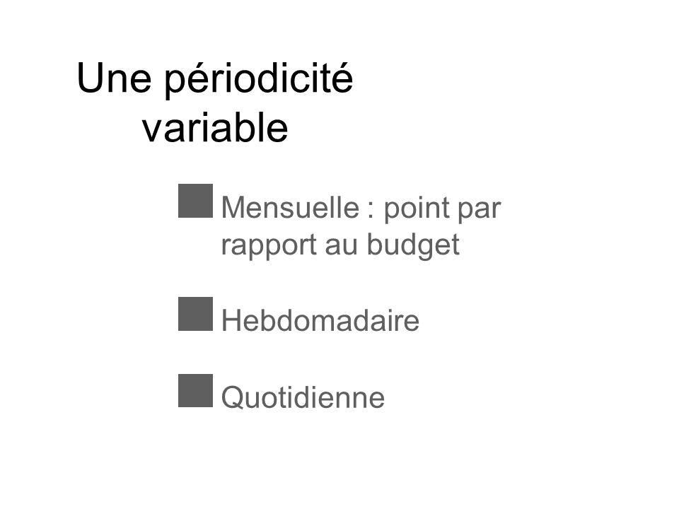 Une périodicité variable Mensuelle : point par rapport au budget HebdomadaireQuotidienne