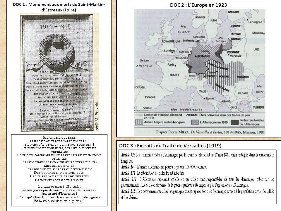 DOC 1 : Monument aux morts de Saint-Martin- dEstreaux (Loire) DOC 2 : LEurope en 1923 DOC 3 : Extraits du Traité de Versailles (1919)
