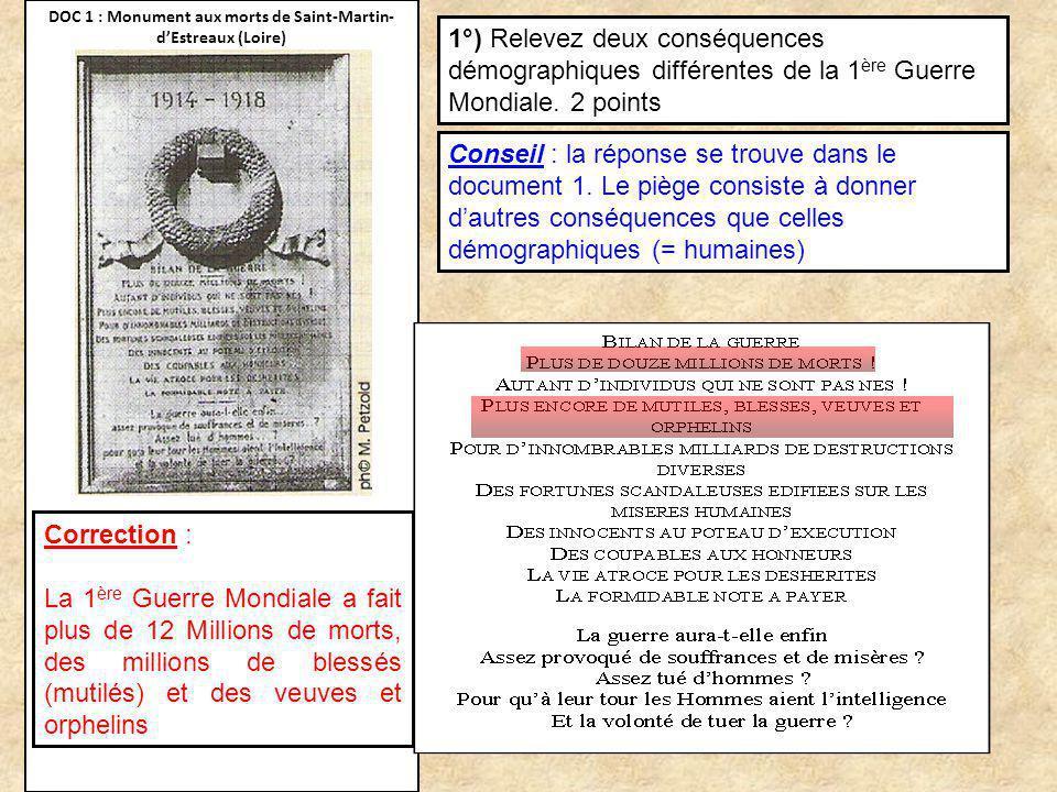 DOC 1 : Monument aux morts de Saint-Martin- dEstreaux (Loire) 1°) Relevez deux conséquences démographiques différentes de la 1 ère Guerre Mondiale. 2