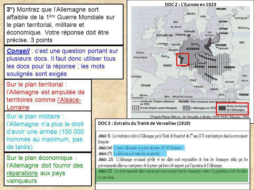 DOC 2 : LEurope en 1923 DOC 3 : Extraits du Traité de Versailles (1919) 3°) Montrez que lAllemagne sort affaiblie de la 1 ère Guerre Mondiale sur le p