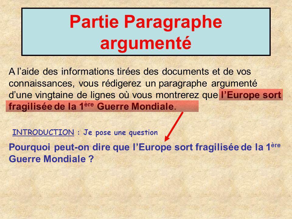 Partie Paragraphe argumenté A laide des informations tirées des documents et de vos connaissances, vous rédigerez un paragraphe argumenté dune vingtai