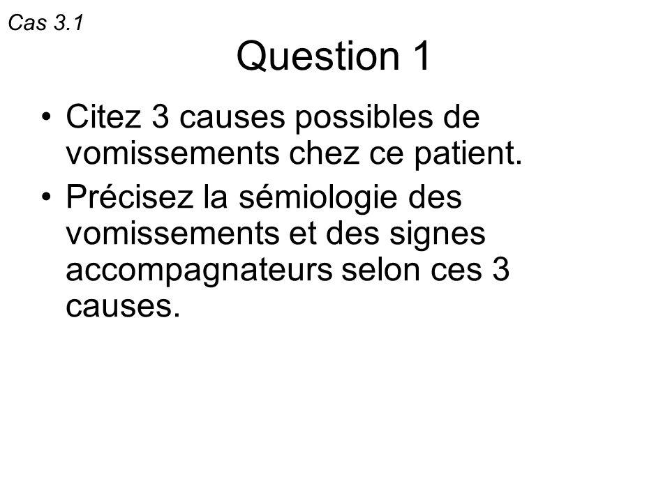 Question 1 Citez 3 causes possibles de vomissements chez ce patient. Précisez la sémiologie des vomissements et des signes accompagnateurs selon ces 3