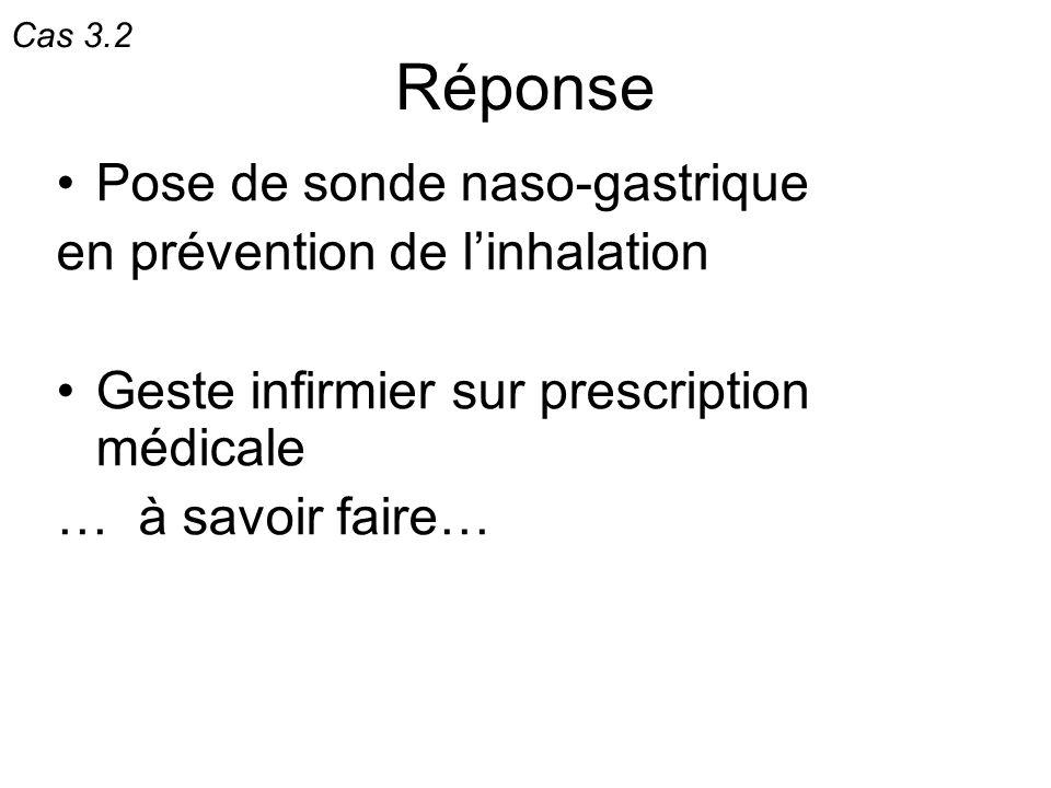 Réponse Pose de sonde naso-gastrique en prévention de linhalation Geste infirmier sur prescription médicale … à savoir faire… Cas 3.2