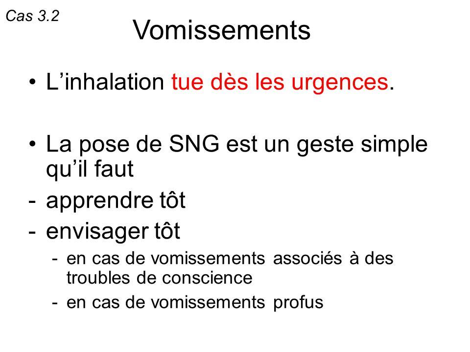 Linhalation tue dès les urgences. La pose de SNG est un geste simple quil faut -apprendre tôt -envisager tôt -en cas de vomissements associés à des tr