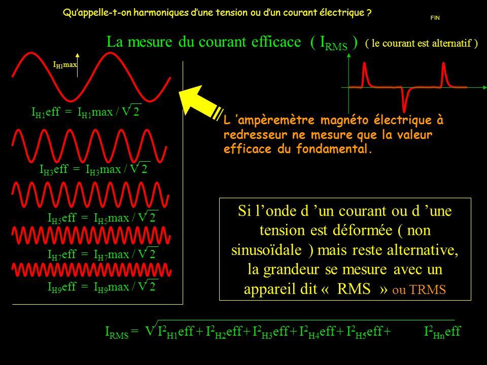 I RMS = V I 2 H1 eff + I 2 H2 eff + I 2 H3 eff + I 2 H4 eff + I 2 H5 eff + I 2 Hn eff La mesure du courant efficace ( I RMS ) ( le courant est alterna
