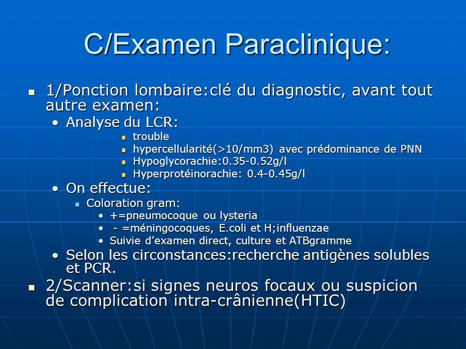 C/Examen Paraclinique: C/Examen Paraclinique: 1/Ponction lombaire:clé du diagnostic, avant tout autre examen: 1/Ponction lombaire:clé du diagnostic, a