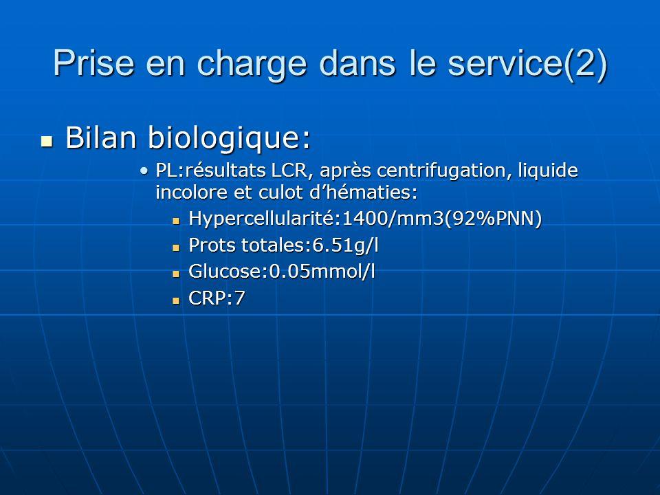 Prise en charge dans le service(2) Bilan biologique: Bilan biologique: PL:résultats LCR, après centrifugation, liquide incolore et culot dhématies:PL:
