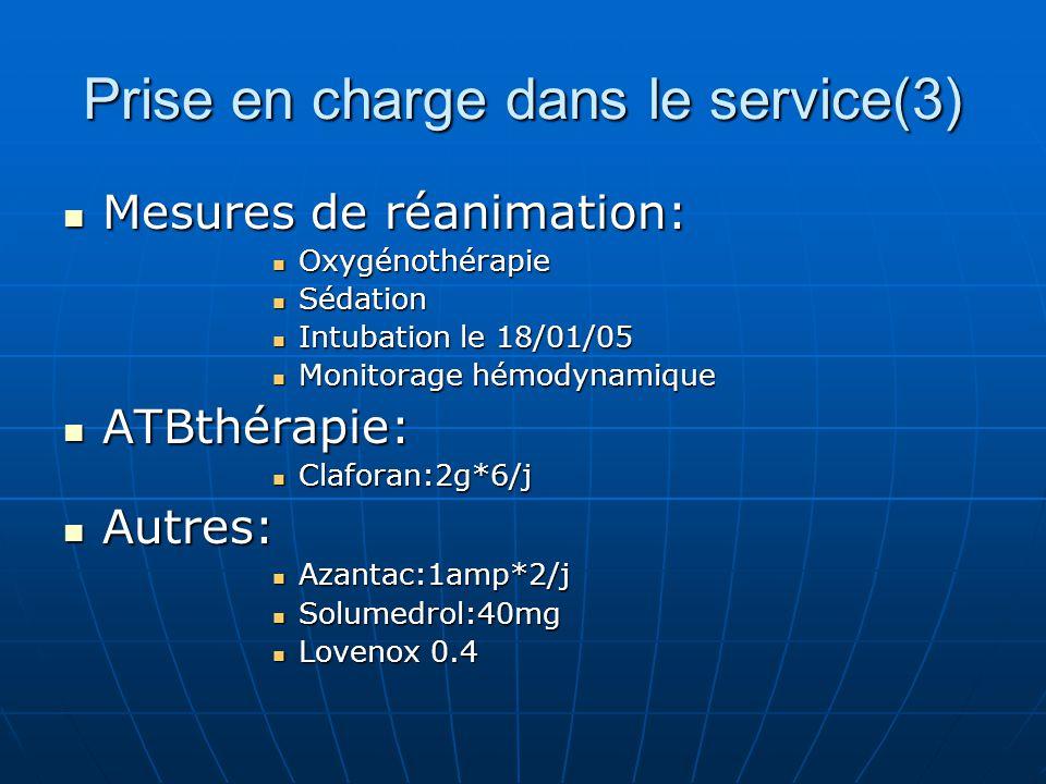 Prise en charge dans le service(3) Mesures de réanimation: Mesures de réanimation: Oxygénothérapie Oxygénothérapie Sédation Sédation Intubation le 18/