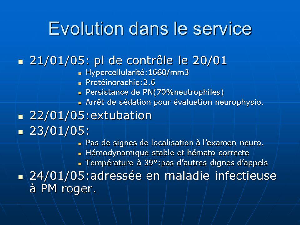 Evolution dans le service 21/01/05: pl de contrôle le 20/01 21/01/05: pl de contrôle le 20/01 Hypercellularité:1660/mm3 Hypercellularité:1660/mm3 Prot