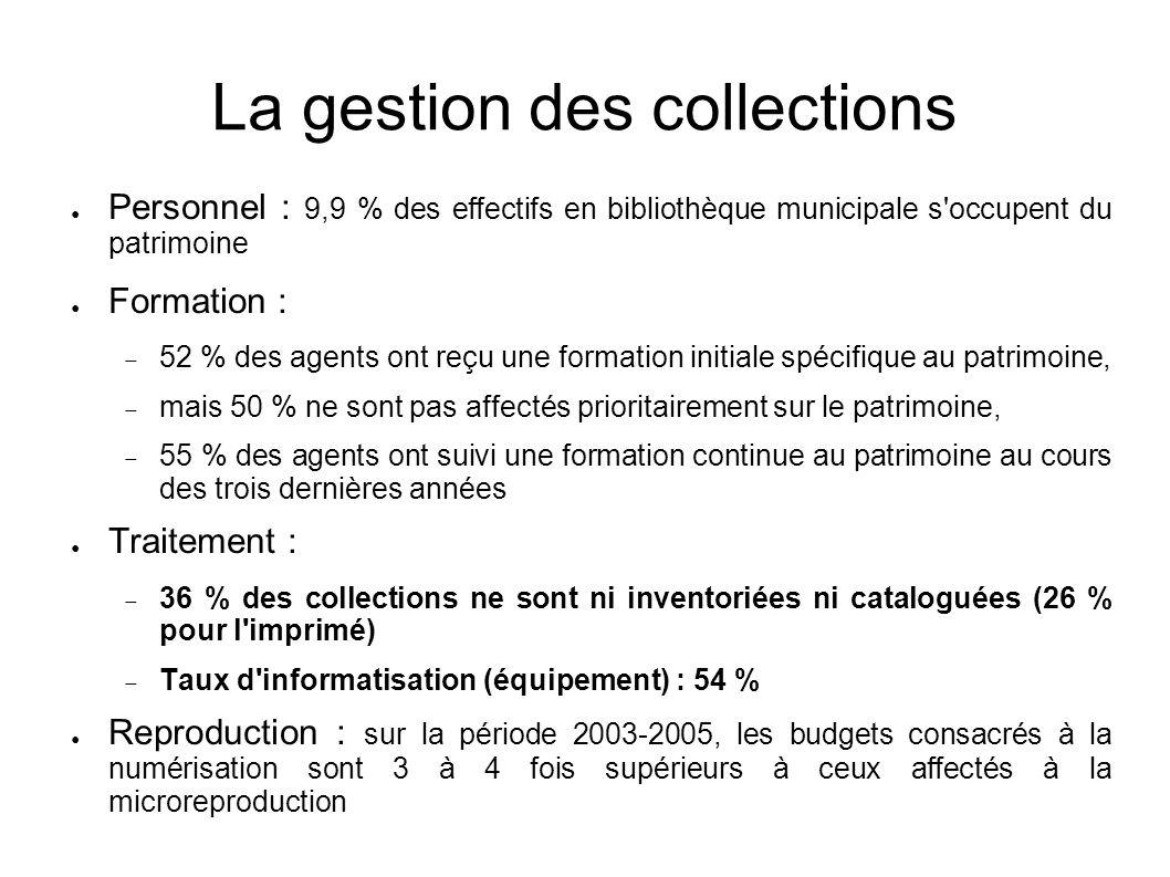 La gestion des collections Personnel : 9,9 % des effectifs en bibliothèque municipale s'occupent du patrimoine Formation : 52 % des agents ont reçu un