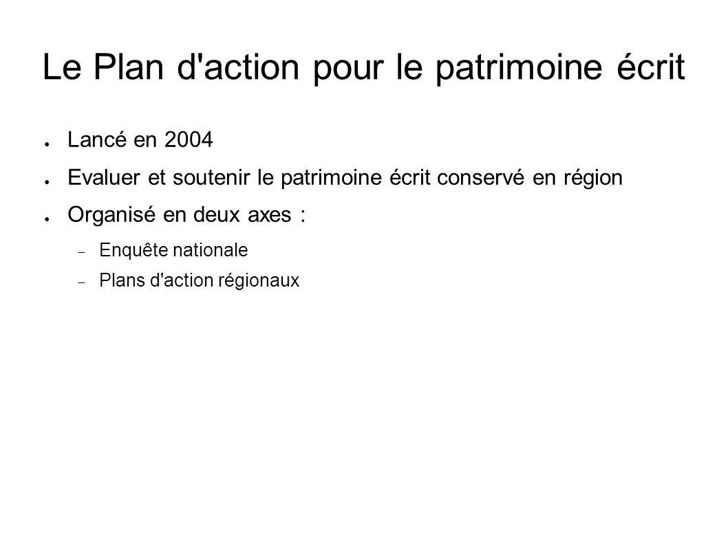 Le Plan d'action pour le patrimoine écrit Lancé en 2004 Evaluer et soutenir le patrimoine écrit conservé en région Organisé en deux axes : Enquête nat