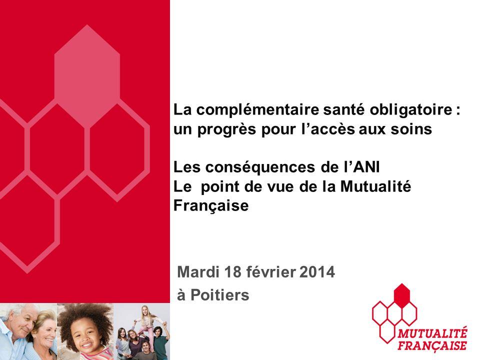 La complémentaire santé obligatoire : un progrès pour laccès aux soins Les conséquences de lANI Le point de vue de la Mutualité Française Mardi 18 fév