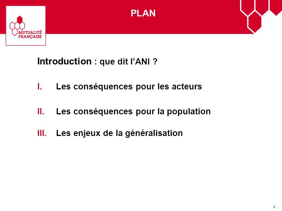 2 Introduction : que dit lANI ? I.Les conséquences pour les acteurs II.Les conséquences pour la population III.Les enjeux de la généralisation PLAN
