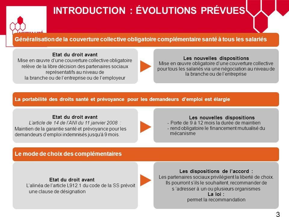 3 INTRODUCTION : ÉVOLUTIONS PRÉVUES Etat du droit avant Larticle de 14 de lANI du 11 janvier 2008 : Maintien de la garantie santé et prévoyance pour l