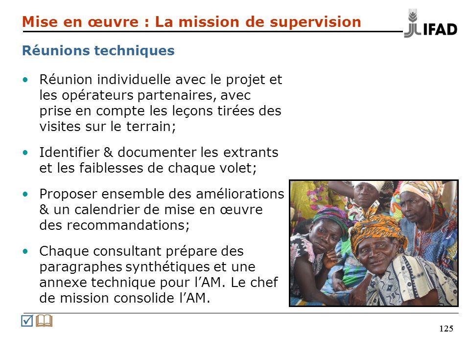 125 Réunion individuelle avec le projet et les opérateurs partenaires, avec prise en compte les leçons tirées des visites sur le terrain; Identifier &