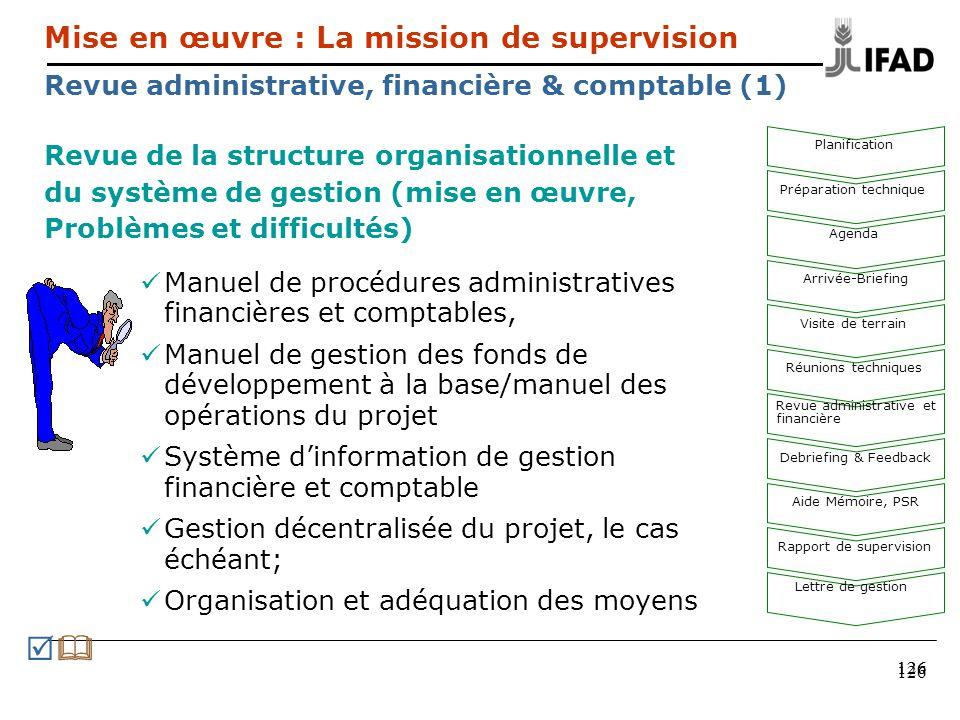 126 Revue de la structure organisationnelle et du système de gestion (mise en œuvre, Problèmes et difficultés) Manuel de procédures administratives fi