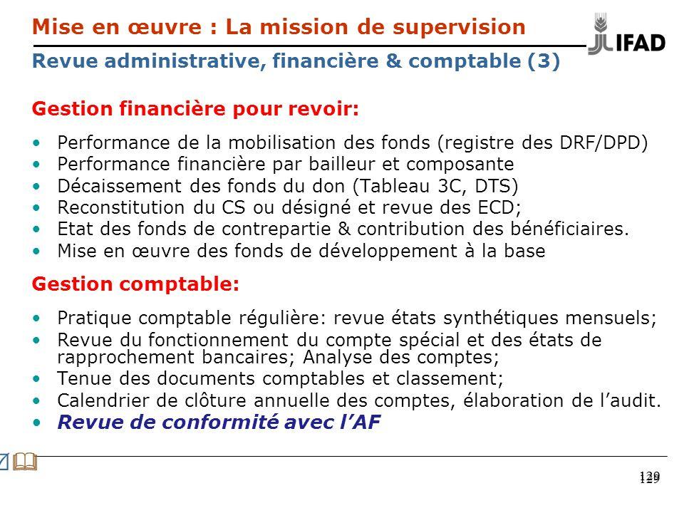 129 Gestion financière pour revoir: Performance de la mobilisation des fonds (registre des DRF/DPD) Performance financière par bailleur et composante