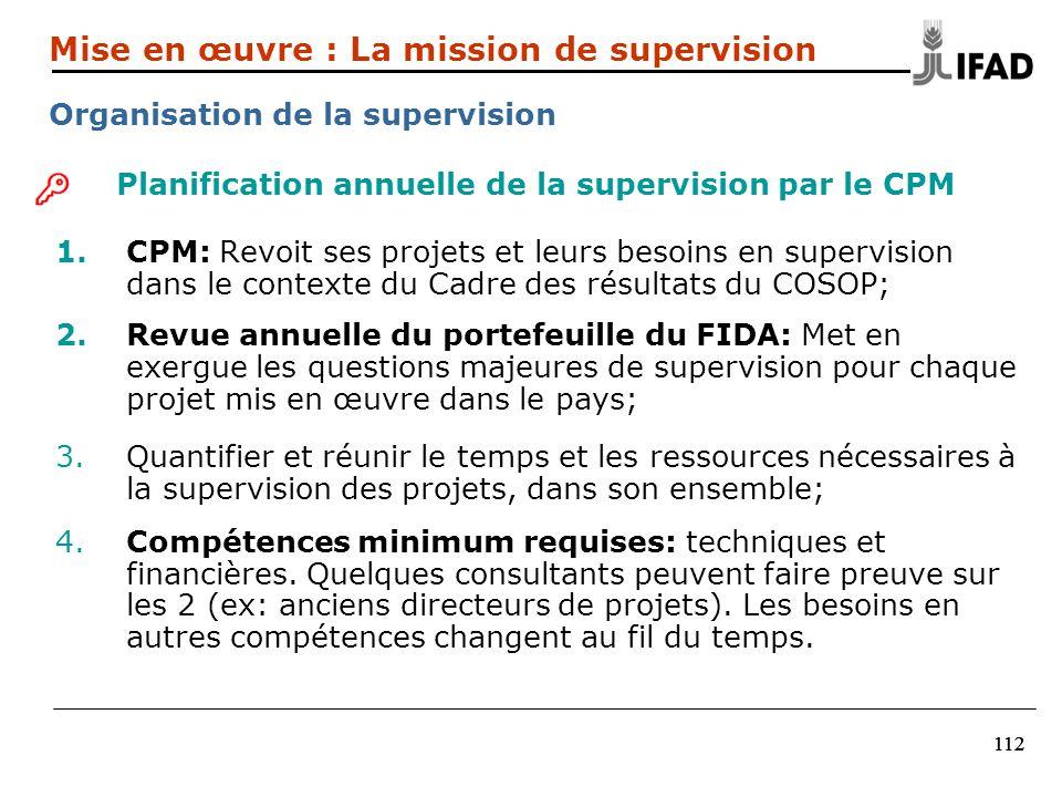 112 Planification annuelle de la supervision par le CPM 1.CPM: Revoit ses projets et leurs besoins en supervision dans le contexte du Cadre des résult