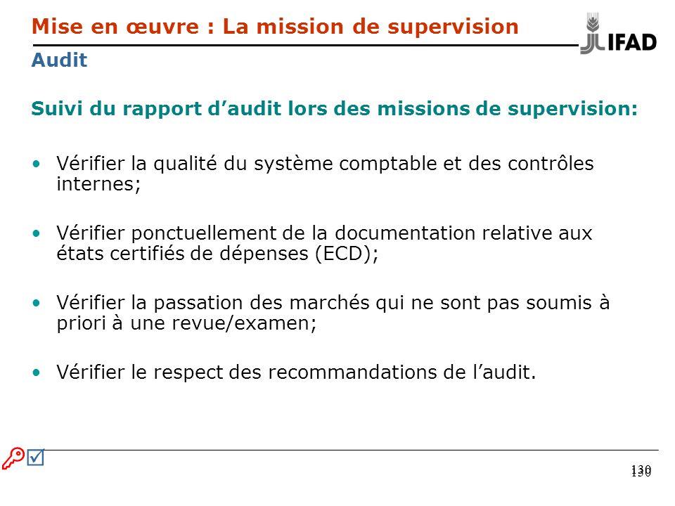 130 Suivi du rapport daudit lors des missions de supervision: Vérifier la qualité du système comptable et des contrôles internes; Vérifier ponctuellem