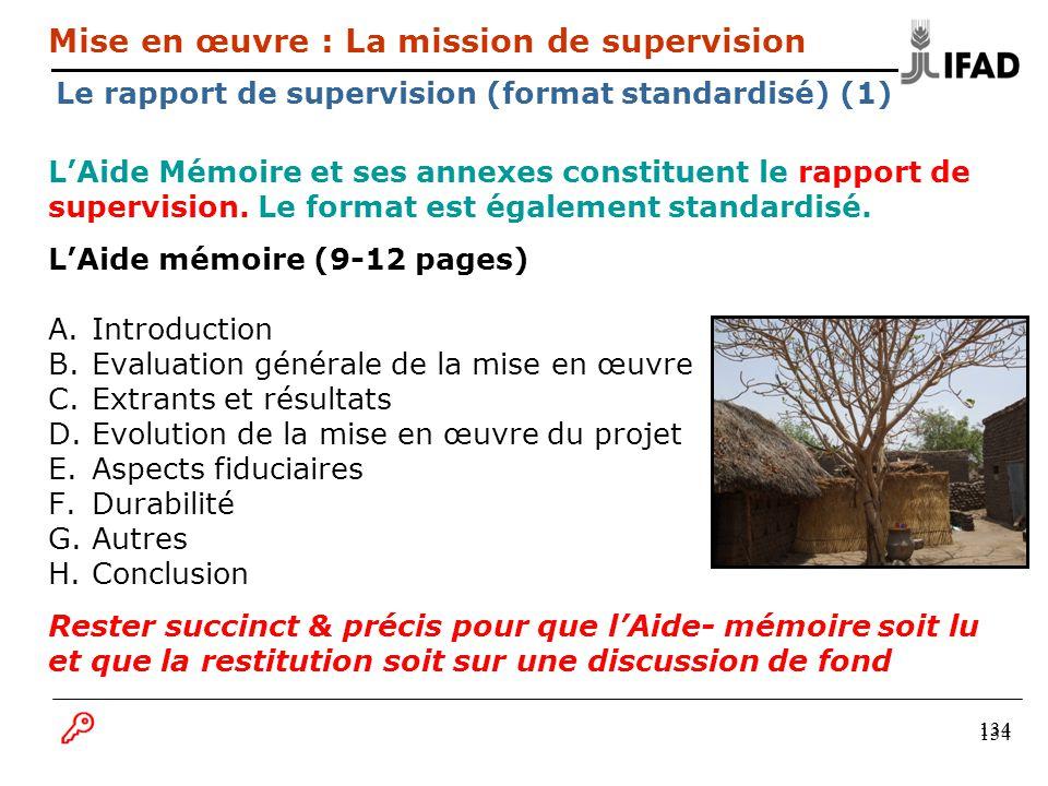 134 LAide Mémoire et ses annexes constituent le rapport de supervision. Le format est également standardisé. LAide mémoire (9-12 pages) A.Introduction