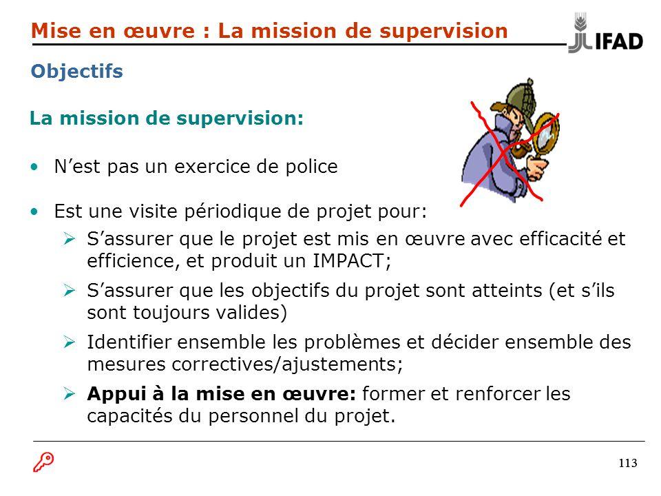 113 La mission de supervision: Nest pas un exercice de police Est une visite périodique de projet pour: Sassurer que le projet est mis en œuvre avec e